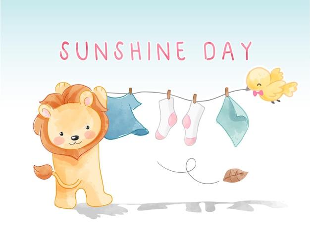 Sunshine day slogan with lion hanging clothes illustration