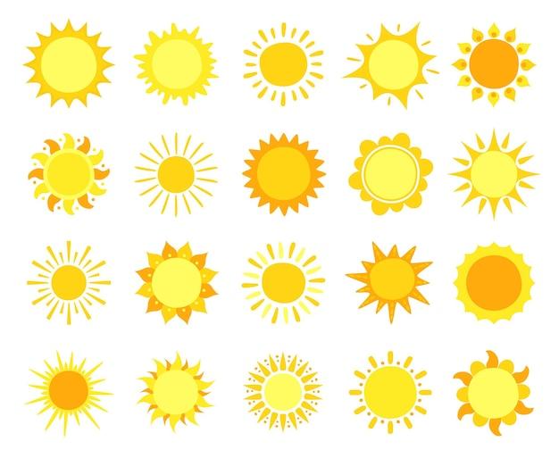 Sunshine, hot summer and sunrise symbols, sunlight circles, solar and sunny weather Premium Vector