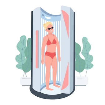 Suntanning flat color character. solarium treatment. sunbed machine indoor cosmetic parlor. woman getting artificial lamp tanning. beauty salon procedure isolated cartoon illustration