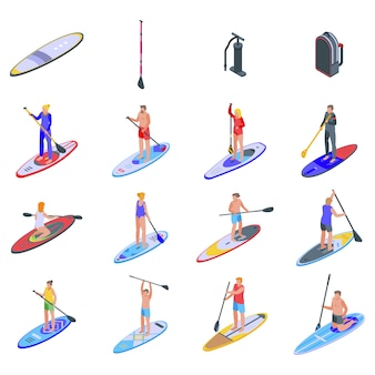 Sup surfing icons set.