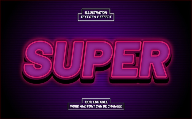 Super 3d bold text style effect