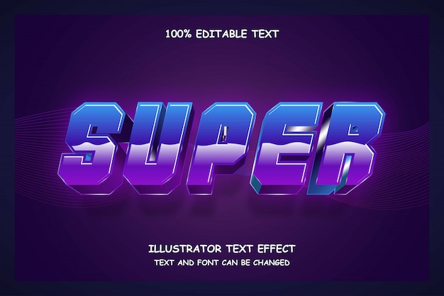 Super,3d editable text effect blue gradation purple modern shadow 80s style