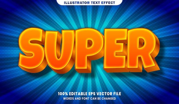 슈퍼 3d 편집 가능한 텍스트 스타일 효과