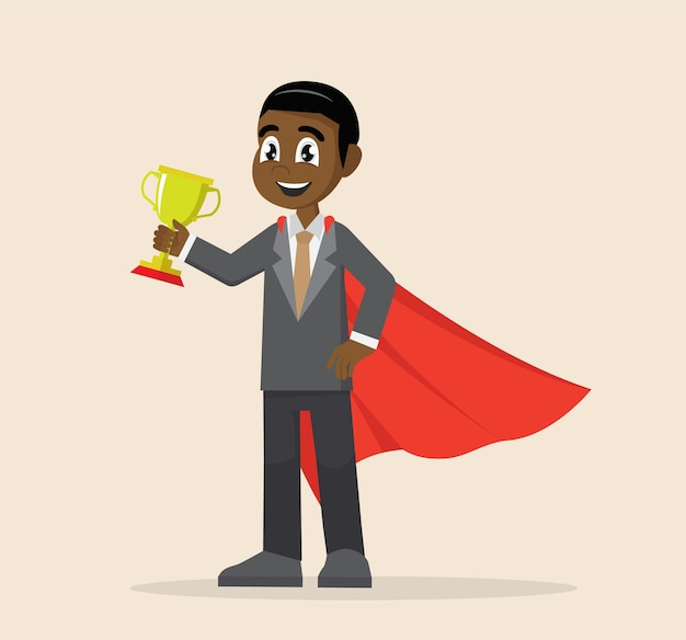 Super african businessman holding a trophy.
