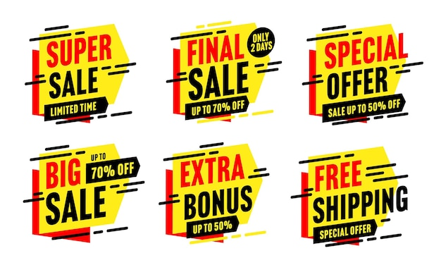Super big sale, free shipping, final sale, extra bonus special offer. discount sticker with up to 50 and 70 percent price off limited in time vector illustration isolated in white background