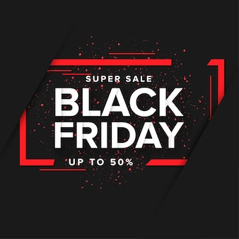 Super black friday banner with abstract frame