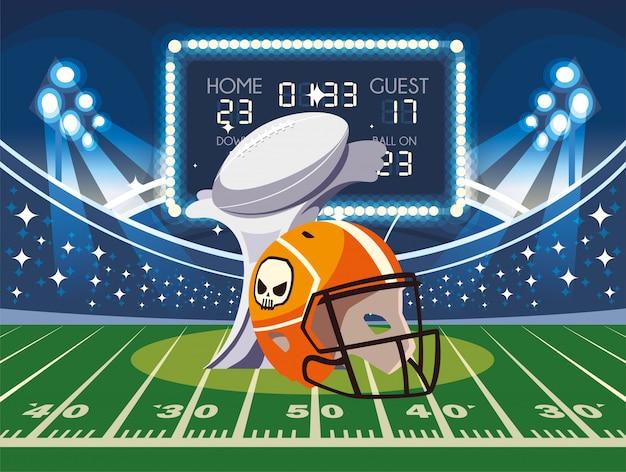 Super bowl helmet and trophy in front of grandstand illustration