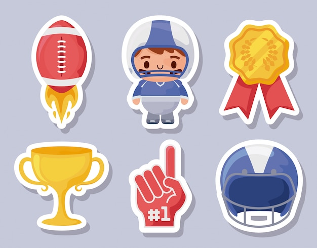 Super bowl icon set stickers illustration