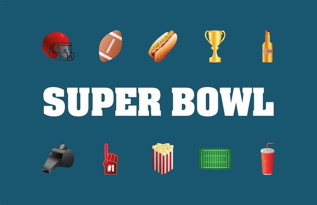 Super bowl lettering with bundle of ten icons
