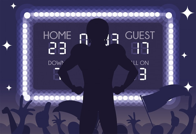 Super bowl player silhouette illustration