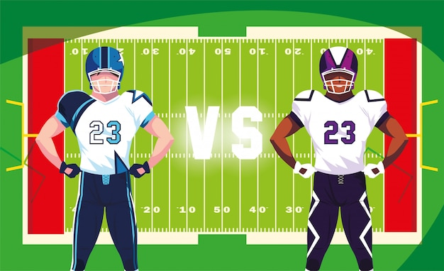 Super bowl players with helmet in front of field illustration