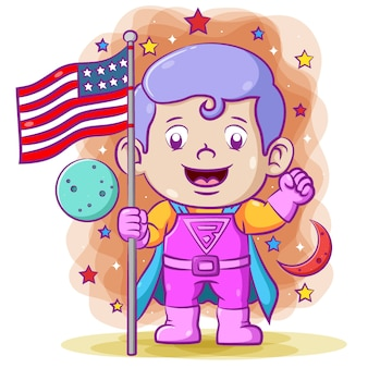 Super boy holding the american flag in the outer space using the super costume