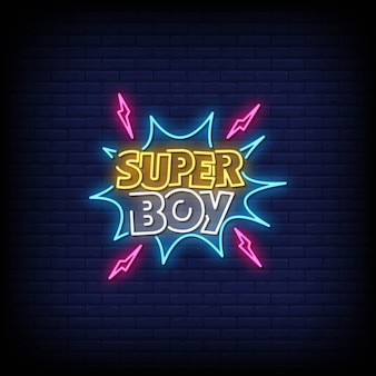 Super boy neon signs style text