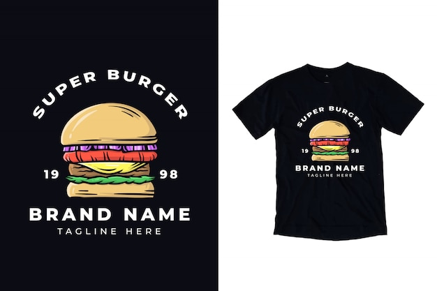 Super burger illustration for t shirt design