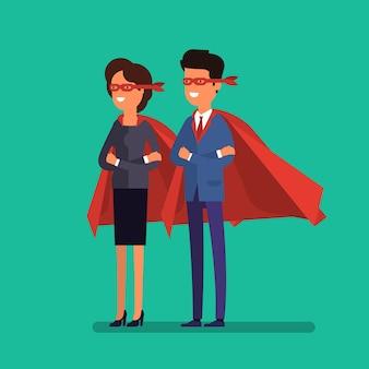 슈퍼 비즈니스 사람들입니다. 만화 비즈니스 남자와 여자는 슈퍼맨의 망토에 팔짱을 끼고 서 있습니다. 비즈니스 개념 그림입니다.