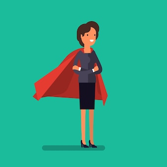 Super business woman. cartoon business woman stands with her arms crossed in a cloak of superman. business concept illustration.