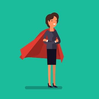 슈퍼 비즈니스 우먼. 만화 비즈니스 여성은 슈퍼맨의 망토를 입고 팔짱을 끼고 서 있습니다. 비즈니스 개념 그림입니다.