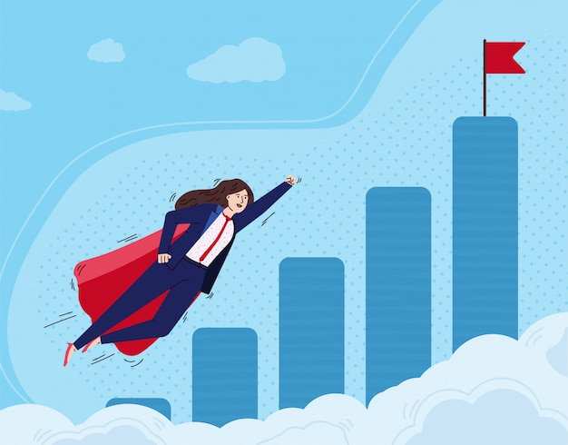 Super business woman flying to approach her goal, flat vector illustration.