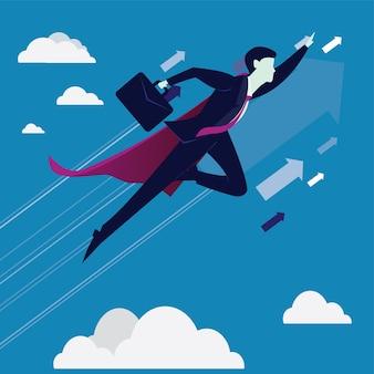Super businessman flying high