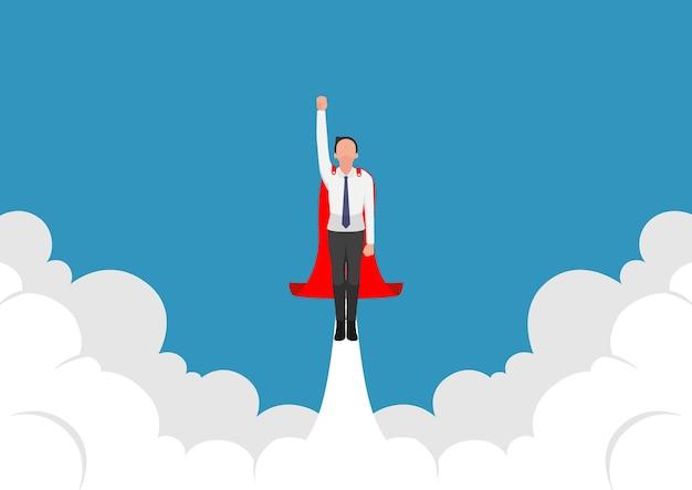 Супер бизнесмен, взлетая из облака. концепция бизнес-лидерства.