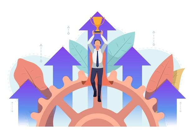 Супер бизнесмен, взлетая с трофеем и ростом деловой стрелки в фоновом режиме. бизнес-успех и концепция лидерства.