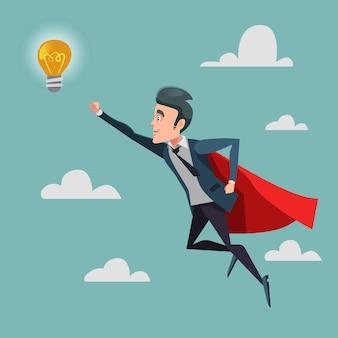 アイデア電球に飛んでいる赤い岬のスーパービジネスマン。ビジネス革新。