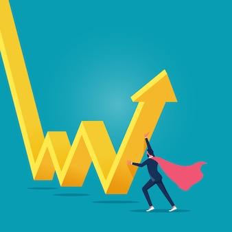 Супер бизнесмен, инвестор, толкает стрелочный график и диаграмму, чтобы снова подняться наверх спасите падающую экономику