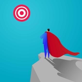 Super businessman look at the dart board. business target concept illustration