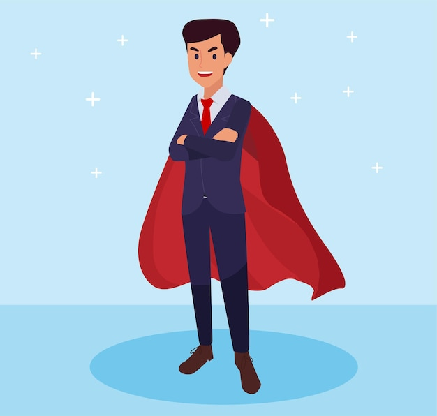 床の上に立っているスーパービジネスマンまたはマネージャー。スーパーヒーロー
