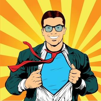 Super businessman pop art retro