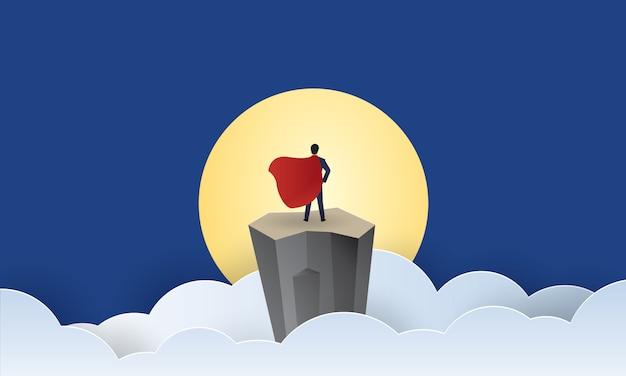 Супер бизнесмен стоять лицом к солнцу, лидерство, концепция вдохновения бизнес, вырезать из бумаги