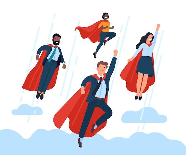 슈퍼 사업가 팀. 비행 사무실 직원 팀, 영웅 포즈와 빨간 망토, 기업 상호 작용, 성공적인 작업 벡터 개념