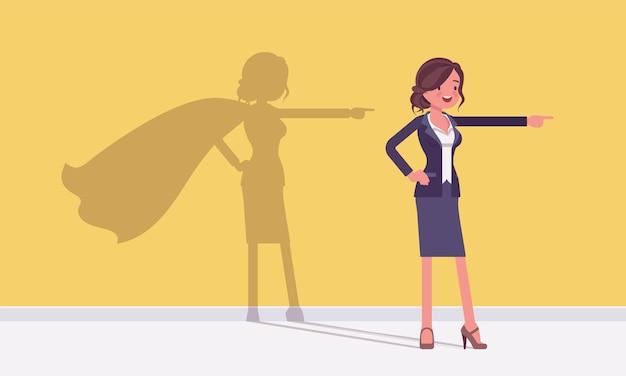 Super businesswoman in hero pose