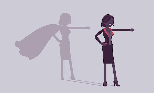 Супер бизнесвумен в позе героя. успешную женщину-менеджера восхищали смелостью, выдающимися бизнес-достижениями, теневой манерой, гордостью, самодовольством. векторная иллюстрация, безликие персонажи