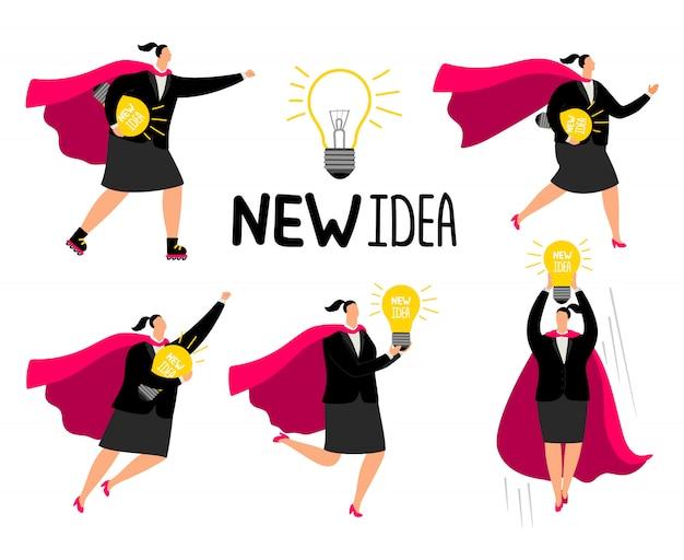 Super businesswoman new idea icons