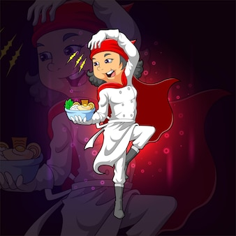 The super chef holds the rice bowl for esport logo design of illustration