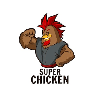 Super chicken mascot illustration