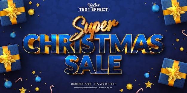 Super christmas sale text, golden color style editable text effect