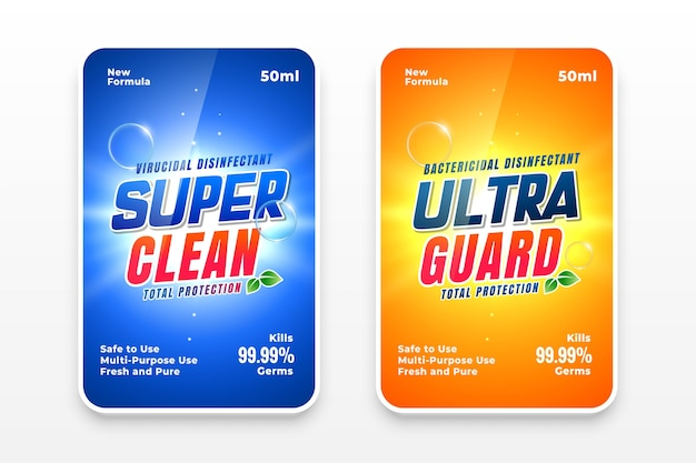 Super clean detergent labels