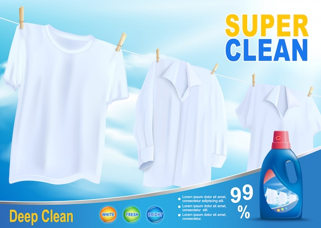 Super clean washing with new detergent vector