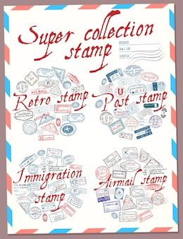 Super collection stamp retro post immigration and airmail stamp passport stamps