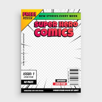 Super comics cover page template design