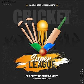 Super cricket league concept with 3d golden trophy cup, equipment and participating team helmets on black silhouette player background.