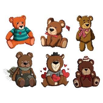 Super cute bear animal vector template