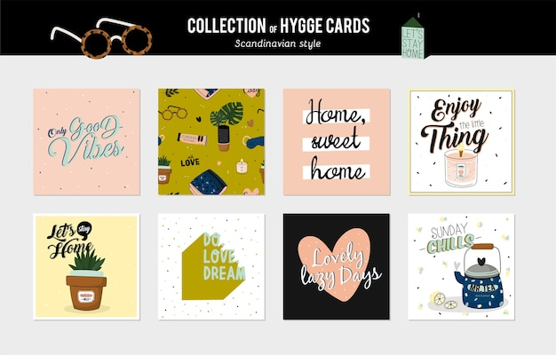 Super cute set of hygge cards and posters. cute illustration autumn and winter hygge elements. isolated. motivational typography of hygge quotes. scandinavian style