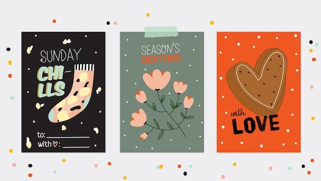 秋と冬の要素を持つ超かわいいヒュッゲカードのセット。動機付けのタイポグラフィはスカンジナビアスタイルを引用します