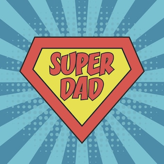 Super dad concept of father day for greeting card poster banner tshirt and other print product