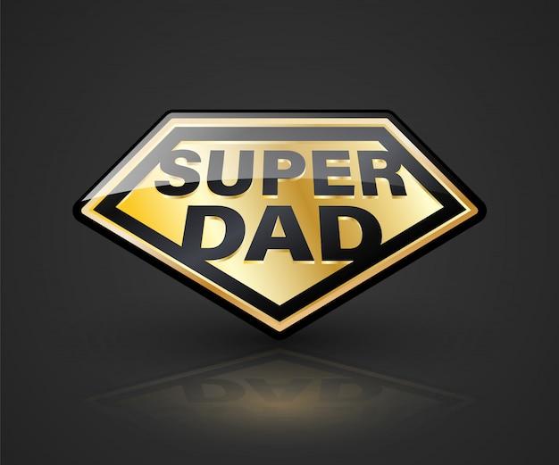 Супер-папа символ щита для элемента день отца Premium векторы