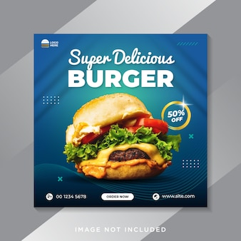 Super delicious burger promotion social media banner template