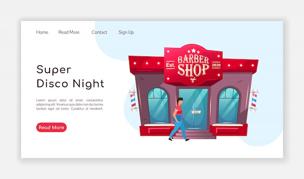 Super disco night landing page  color  template. barbershop homepage layout. hairdresser one page website interface with cartoon illustration. grooming salon web , webpage